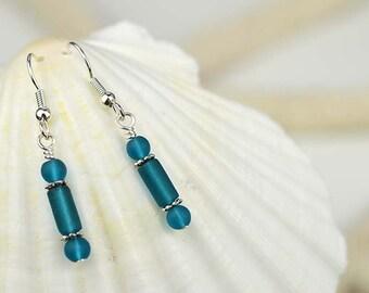 Dark blue sea glass earrings blue sea glass jewelry handmade jewelry handmade earrings bridesmaid earrings sea glass jewelry bridesmaid gift