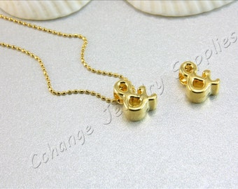 Ampersand Gold Charm, 2 pcs Gold Ampersand (&) Pendant, Shiny Gold Ampersand, 24K Gold Plated Ampersand, Gold Ampersand Charm