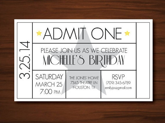 movie theme invitation