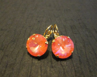 Ultra Coral Swarovski Earrings/ Bridesmaid Earrings/Swarovski Coral Leverback Earrings/Large Round Crystal Earrings/Bright Coral Earrings
