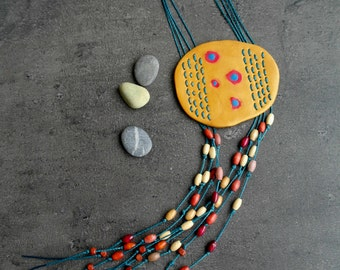 Short necklace, fimo jewelry boho necklace organic shape clay polymer necklace fringes necklace beaded, mixed media jewelry modern materials