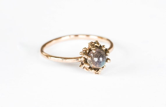 ethereal labradorite 14k gold ring, alternative engagement ring, labradorite engagement promise ring, gold labradorite ring