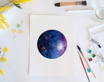Mini galaxy, watercolor print, galaxy, space, wall art, art print, home decor, watercolor art, stars