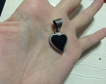 Black onyx heart sterling silver pendant from Mexico