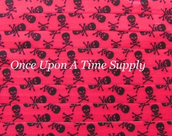 Pink Skull and Crossbones Print Fold Over Elastic for Baby Headbands 5 Yards of 5/8 inch FOE Elastic By The Yard Hair Tie Makng Craft Suppy