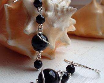 Sterling Silver Black Onyx Wire Wrapped Drop Dangle Earrings