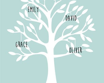 Personalised family tree wall art print