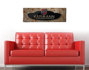 "Karmann Ghia Car Wall Art on Solid Wood Boards - 32"" x 11"" Automobile Decor VW Aircooled Type 1"