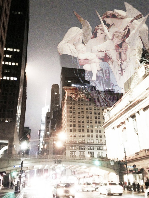 A Choir Above Vanderbilt Avenue - Choir of Angels Original Print Wall Art Madonna and Child Wall Art