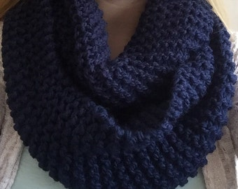 Navy Knit Infinity Scarf