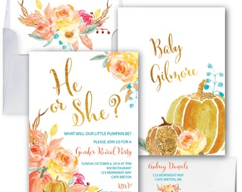 Fall Gender Reveal Invitation // Pumpkin Gender Reveal Invitation // He or She invitation // Gold // Watercolor // CAPE BRETON COLLECTION