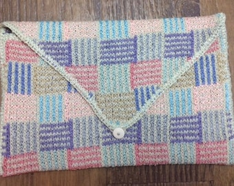 Multi Colored Knit Envelope Style Clutch