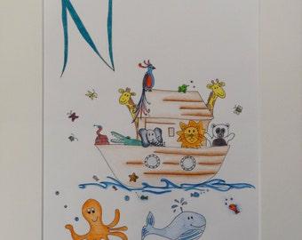 Noah's ark, Nursery decor, personalised artwork, Children's art