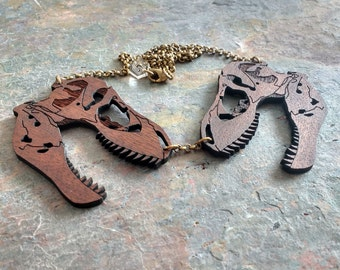 T-Rex Dinosaur skull necklace - Laser cut wooden statement necklace