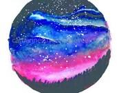 Art Print - 'Watch my Rising' - Watercolour Sunset- Round Art - Galaxy- NightSky