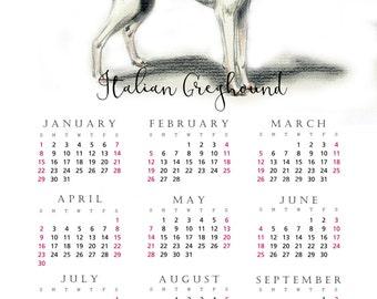 Italian Greyhound 2017 yearly calendar