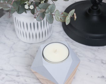 GEOMETRIC | Wooden Candle Holder | Hand Painted | Complete with a 10+ Hour Maxi Tea Light Candle | Various Colours