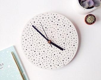 SALE | Small hand painted clock | white wall clock | black polka dots | minimalist home decor | modern homeware