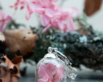 Miniature garden necklace,terrarium necklace, dried flowers pendant, vial necklace,hydrangea necklace, woodland jewelry,shabby chic,
