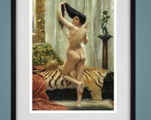 "1920's NUDE By a MIRROR - 8""X10"" Vintage Nude Print- Digital Vintage Photo - Instant Download -Digital Color Risque Print - Printable Art"