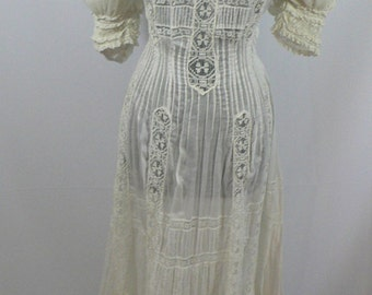 1900's Wedding Gown, Ewdardian Lawn Tea Dress with Pin Tucks and Lace Inserts