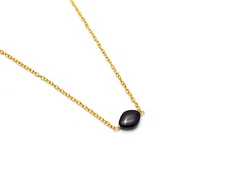 Black Onyx Pendant/ Onyx Gold Pendant/ Gold Onyx Pendant/ Black Onyx Necklace/ Black Onyx Jewelry