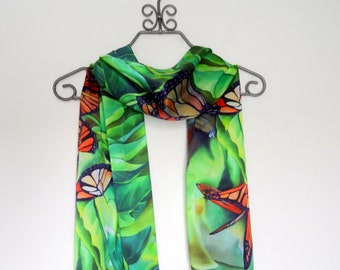 """For Her, Wedding, Monarch Butterfly, Silk Satin Scarf, 15""""x60"""""""