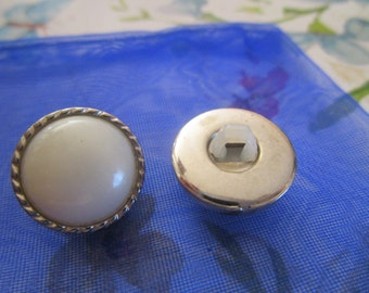 """vintage plastic silvertone buttons faux pearl centre 1/2""""across for two only"""