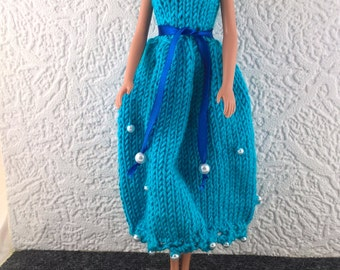 Turquoise ballgown for Barbie. Prom dress for 12inch fashion doll decorated with pearl beads. OOAK ankle length Barbie evening gown.
