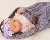 Baby Sleep Sack, Purple Baby Cocoon, Knit Baby Blanket, Cable Knit, 100% Cotton, Lilac Purple, baby gift - 106