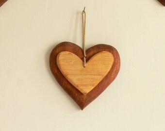 Folk Art Carved Wooden Heart Door Window Hangers - Mahogany & Beech - Ideal Gift