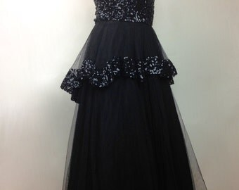 """1940's FRANK STARR Strapless """"Old Hollywood"""" Gown / Hourglass Sequined Bodice / Sequined Peplem // Womens Medium"""