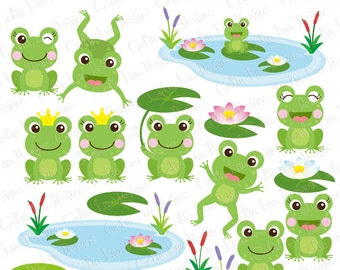 Frog Clipart , frogs clip art, lilypads, frogs, cat tail, cute frogs , prince frog, princess frog (CG214)