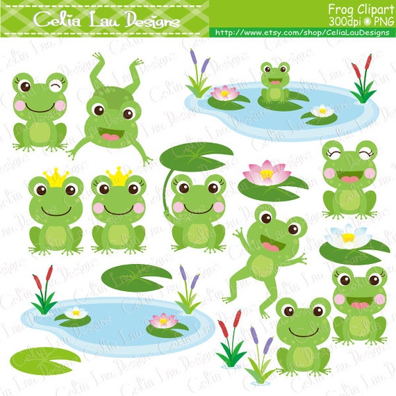 Frog Clipart frogs clip art lilypads frogs cat tail cute
