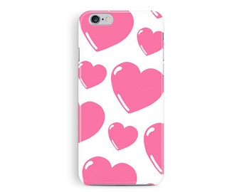 HEART iPhone case, Heart phone case, VALENTINE Phone Case, cartoon heart, Love Heart iPhone Case, pink hearts, girly iphone case, heart case