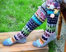 Thigh High Socks, Hand knitted socks, Colorful handmade socks, Over the knee socks, Unique womens socks, Hippie socks