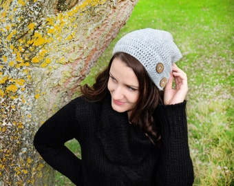Hand knitted hat, Grey Crocheted Hat, Hand Crochet Women Beanie with buttons, Grey beanie with buttons, Slouchy handmade hat