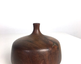 Rude Osolnik Cherry Turned Wood Weed Pot Bud Vase Mid Century Modern