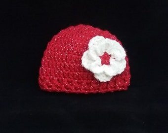 Red baby hat, Newborn baby hat,crochet hat for baby, sparkling hat, ready to ship hat, hat with sparkles