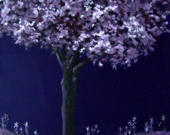Purple Tree, Spring Landscape, Acrylic Painting, Canvas Art, Home Decor, Tree Painting, Nature Art, Wall Art, Original Painting, Tree Art