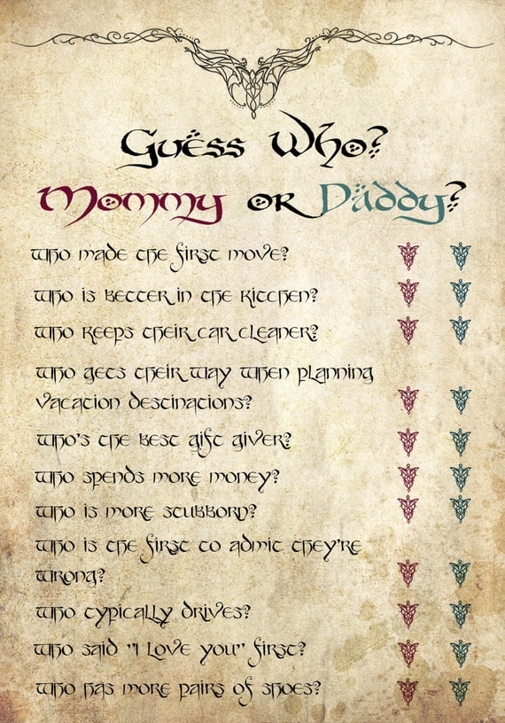 Lord Of The Rings Digital Printable Baby Shower Game