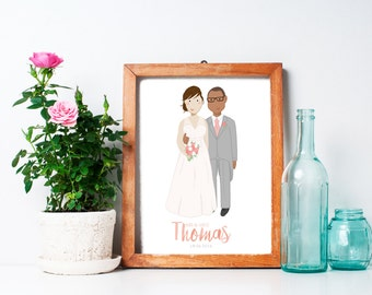 Custom Wedding Portrait Unique Wedding Gift / Anniversary Gift