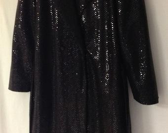 Vintage International Male Sequin Coat, 80s Formal Tuxedo Coat, Belted Black Sequin Top Coat, Size M, Made in USA