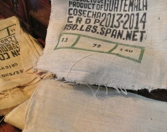 Salvaged Burlap Coffee Sack - Craft Material - Guatamala Clean Coffee