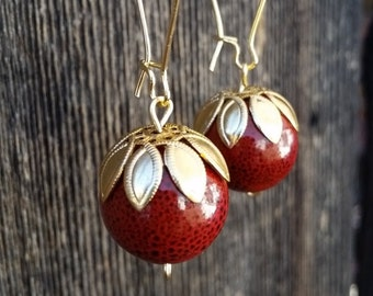 Red and Gold Leaf Drop Earrings