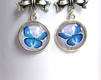 Butterflies and Bows Blue Butterfly Earrings Silver Finish Pierced Ear Dangle Earrings with Bow Charm