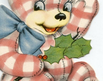 Vintage child's Christmas card gingham teddy bear holly digital download printable instant image