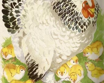 Vintage children's book art hen chicken and chicks digital download printable instant image