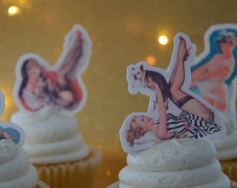 Pin Up, Pin up cupcake topper, pin up cupcake,  edible cupcake topper, retro cupcake topper, retro topper, 50s topper, Pin Up Wafer Paper,