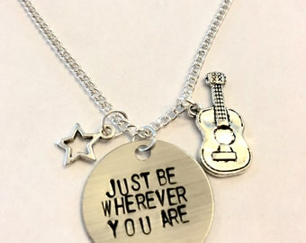"Steven Universe Inspired Hand-Stamped Necklace - ""Just Be Wherever You Are"""